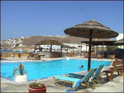 Hotel's swimming pool and bar