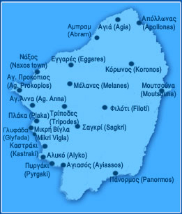 A map of naxos with all the towns and villages