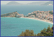 Kokkari beach in Samos panoramic view.