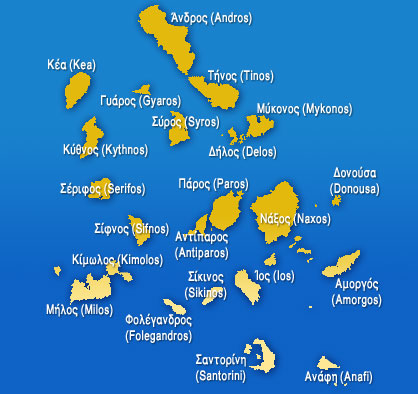 Cyclades Islands Map